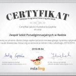Certyfikat Insta.Ling dla Szkół